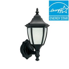 Designers Fountain Designers Value 1-Light Solid Black Outdoor Wall Lantern with Glacier Glass Shade-ES2462-GL-BK - The Home Depot