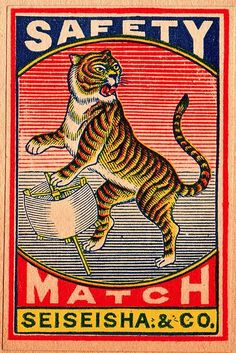 Tiger with a Swift    vintage Japanese matchbox label