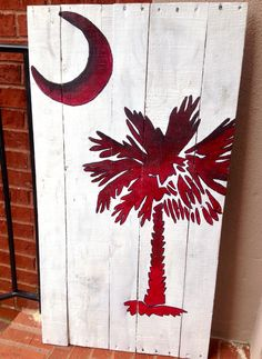 """""""South Carolina"""" #pallet #painting #gamecocks Gamecocks Football, Clemson, College Football, Pallet Art, Pallet Crafts, Pallet Painting, Diy Pallet, Pallet Signs, Pallet Projects"""