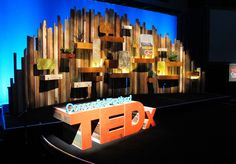 TEDx stage installation with all recycled wood. 24' w x 10'h x 4' deep.