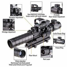 Pinty Rifle Scope Rangefinder Illuminated Reflex Sight 4 Reticle Red Dot Laser Sight with 14 Slots 1 inch High Riser Mount Tactical Scopes, Tactical Rifles, Firearms, Shotguns, Rifle Scope, Weapons Guns, Red Green, Green Dot, Red Dots