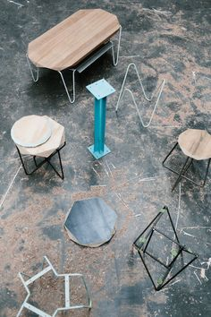 Handcrafted stools by Tuckbox. Photo – Tara Pearce. Styling -Stephanie Stamatis on thedesignfiles.net