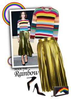 """Rainbow Style"" by meyli-meyli ❤ liked on Polyvore featuring Gucci, Gianvito Rossi, Les Petits Joueurs, women's clothing, women's fashion, women, female, woman, misses and juniors"