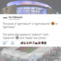 """What are your favorite stadiums?"" = ""What are your favorite stadia""? (But very few people would use ""stadia"" instead of ""stadiums."") Similarly ""gymnasiums"" = ""gymnasia. Grammar Tips, Spelling And Grammar, Grammar And Vocabulary, The New School, New School Year, English Class, Learn English, Persuasive Essays, Staples Center"