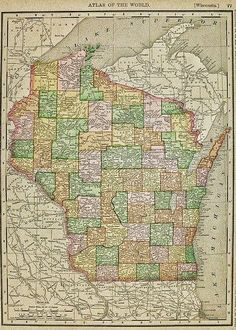 1897 map of Wisconsin from Rand McNally Atlas of the World.