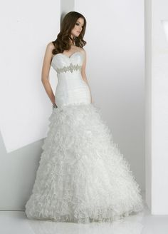 Fit & Flare Sweetheart Pleated Bodice Beaded Underbust Multi-Layered Ruffling Skirt Organza Wedding Dress-wf0039, $289.95