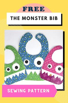 Monster Bib FREE sewing pattern. So here is the Monster Bib which is a great kid's sewing pattern that is FREE! Doesn't it look great? And besides being really practical it's a fun thing to have around at photo time. The Monster Bib sewing pattern comes in two sizes. There is an infant size that is perfect for your 6 to 18-month old baby and the full coverage bib is great for your 12-month baby to 2T (or bigger) toddler. Sewing Patterns For Kids, Sewing For Kids, Baby Sewing, Free Sewing, Photo Time, Free Pattern Download, Used Vinyl, Modern Kids, Baby Month By Month