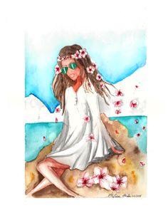 Moça com flores no cabelo #aquarela #watercolor #praia #beach #illustration