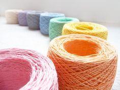 Pastel rainbow mix of linen yarn - Linen crochet thread via Etsy