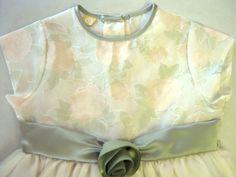 Girls Formal Dress 4 Flower Ivory Cream Pale Sage Peach CLEARANCE SALE #Dress