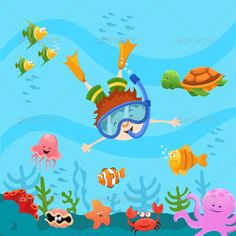 Diving Kid  #GraphicRiver         Vector illustration of a diving kid.   File Formats : AI CS2, EPS8 , JPEG (5000×5000)   Animals and kid grouped and layered individually.     Created: 17May13 GraphicsFilesIncluded: