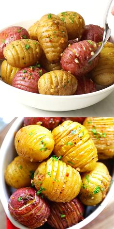 Garlic Roasted Potatoes - quick, easy and the best roasted potatoes with garlic, butter and olive oil. This is one of the best potato recipes in oven. Gold Potato Recipes, Russet Potato Recipes, Roasted Potato Recipes, Scalloped Potato Recipes, Potato Side Dishes, Quick Potato Recipes, Good Sweet Potato Recipe, Potato Recipes Crockpot, Pork Chop Recipes