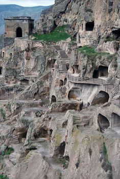 The ancient cave monastery of Vardzia in southern Georgia. The main period of construction was the second half of the twelfth century, though people have lived here since the Bronze Age. #travel #wanderlust #georgia