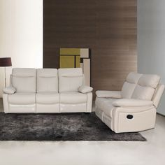 AC Pacific Ryker Leather Reclining Sofa And Loveseat 2 Piece Set (Brown)
