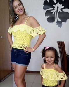 How to für absolute Crochet Bra, Crochet Shirt, Crochet Clothes, Girls Party Dress, Baby Dress, Mommy And Me Dresses, Mother Daughter Matching Outfits, Modern Crochet, Mommy Style