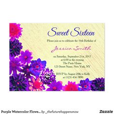 60 best sweet 16 birthday invitations announcements images on purple watercolor flowers sweet 16 invitation filmwisefo