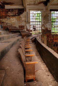 dedicatedtodecay: Abandoned church auditorium, Gary, Indiana by Timothy Neesam (GumshoePhotos) Abandoned Buildings, Abandoned Property, Abandoned Mansions, Old Buildings, Abandoned Places, Abandoned Castles, Beautiful Ruins, Beautiful Places, Beautiful Pictures