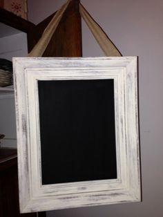 Framed Chalkboard vintage frame  White shabby chic  Hanging Burlap ribbon, wedding decor, nursery room , kitchen walls on Etsy, $35.00