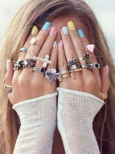 Pastel nails and bling explosion! Love the nails ! Cute Nails, Pretty Nails, Easter Nails, Rainbow Nails, Nail Polish Colors, Color Nails, Polish Nails, Spring Nails, Summer Nails