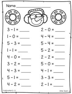 Winter Beginning Addition and Subtraction Worksheets Kindergarten & Grade - Modern Design Christmas Worksheets Kindergarten, Subtraction Kindergarten, Addition And Subtraction Worksheets, Preschool Math, Kindergarten Worksheets, Math Practice Worksheets, First Grade Math Worksheets, 1st Grade Math, Grade 1