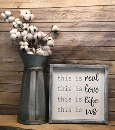 This is real this is love this is life this is us farmhouse sign barnwood sign modern farmhouse Barn Wood Signs, Rustic Signs, Rustic Decor, Modern Decor, Country Farmhouse Decor, Farmhouse Signs, Farmhouse Style, Farmhouse Ideas, Country Living