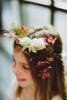 Mismatched Bridesmaid Dresses in Red, Orange and Pink Flower Girl Crown, Tulle Flower Girl, Flower Girl Dresses, Flower Girls, Loft Wedding, Wedding Blog, Wedding Planner, Wedding Ideas, Kids Barn