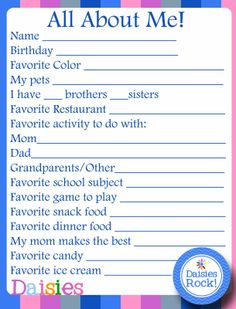 Girl Scouts: About Me FREE Printable for Daisies. Great activity for early arrivals!
