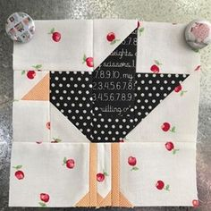 """I super love this """"Crow Block"""" made by .she used my Crow pattern (available website) and she has it on her magnetboard with Bee in my Bonnet .how cute are her fabric choices? Paper Piecing Patterns, Quilt Block Patterns, Pattern Blocks, Small Quilts, Mini Quilts, Quilting Projects, Quilting Designs, Quilting Ideas, Bird Quilt Blocks"""