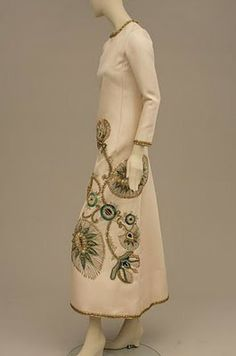 Christian Dior silk twill dinner dress worn by the Duchess of Windsor, 1968.