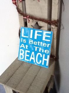 Life is Better At The Beach wooden primitive sign on Handmade Artists\' Shop