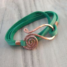 Leather Wrap Bracelet in Turquoise with Spiral Clasp - Hammered Copper Bracelet. $28.00, via Etsy.