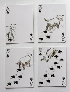 Dog footy prints playing cards