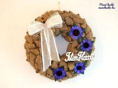 Szalagos ajtódísz lila virágokkal - Manó kuckó