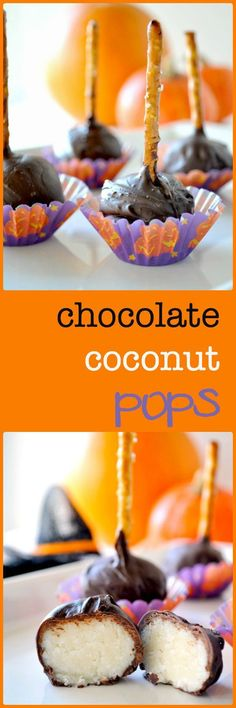Chocolate Coconut Pops. Sweet little balls of coconut, dipped in dark ...