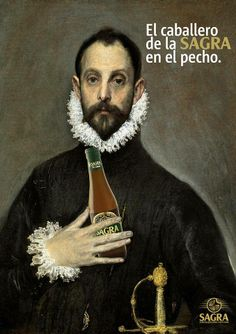 Beer and Art go together. The Gentleman with His Hand at His Chest. An oil painting by El Greco.