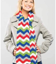 Crochet a warm and cozy chevron scarf!
