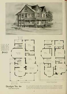 The Radford ideal homes : 100 house plans 100 Victorian House Plans, Vintage House Plans, Modern House Plans, House Floor Plans, Victorian Homes, Vintage Houses, Home Design Plans, Plan Design, Building Plans