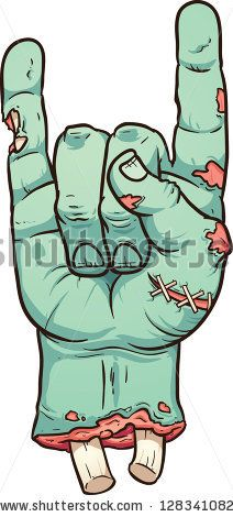 Severed zombie hand making rock sign. Vector clip art illustration with simple gradients. All in a single layer. by Memo Angeles, via Shutte...