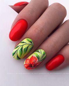 Pink White Nails, Red Nails, Hair And Nails, Rose Nail Art, Flower Nail Art, Cute Nails, Pretty Nails, Nail Ink, Fruit Nail Art