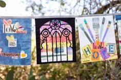 From SUCH Designs prayer flag project using her PAINT fabric for Windham Fabrics: stained glass window!