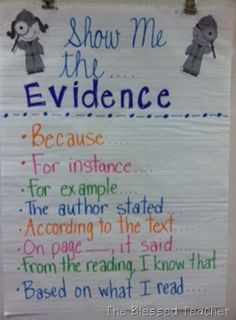Evidence anchor chart, teaching, writing lesson-- easily modified for high school Evidence Anchor Chart, Ela Anchor Charts, Reading Anchor Charts, Text Evidence, Citing Evidence, Writing Lessons, Teaching Writing, Writing Process, Reading Lessons