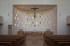 Image 7 of 13 from gallery of Roman Catholic Church / Tamás Nagy. Photograph by József Hajdú Religious Architecture, Church Architecture, Modern Architecture, Church Interior Design, Church Stage Design, Altar Design, Modern Church, Roman Catholic, Catholic Churches