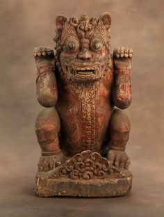 BusaccaGallery.com / Singha Lion Antique, Carved Indonesian Mythical Beast, Wood. Antique