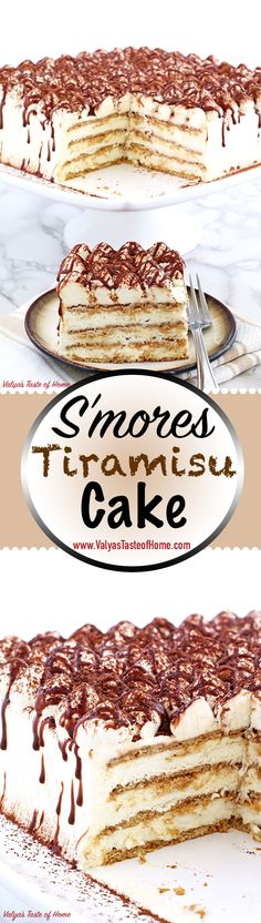 This Smores Tiramisu Cake Recipe has layers of graham crackers dipped in freshly brewed espresso fluffy cream and roasted marshmallow which makes this cake super most soft creamy chocolaty every bite just melts in your mouth. Summer Desserts, No Bake Desserts, Delicious Desserts, Yummy Food, Sweet Recipes, Cake Recipes, Dessert Recipes, Brownies, Tiramisu Cake