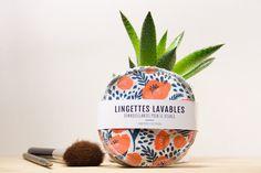 7 LINGETTES LAVABLES ultra douces - bambou & coton - fleurs et motifs orange de la boutique Amyrisdesign sur Etsy Planter Pots, Couture, Boutique, Etsy, Design, Bamboo, Projects, Cotton, Flowers