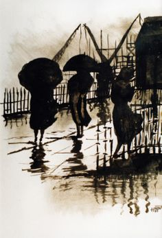 "Saatchi Art Artist: H Kemp; Ink Painting ""Walking in the Rain"""