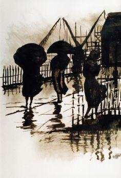 "H Kemp; Ink, ""Walking in the Rain"""