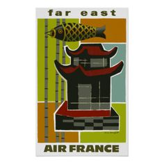 Air France ~ Far East ~ Vintage Airline Travel Posters