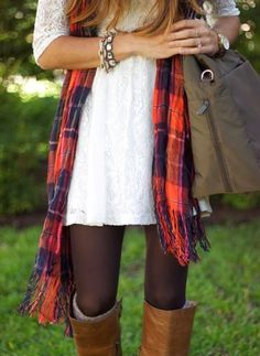 Dress With Long Boots and Tights