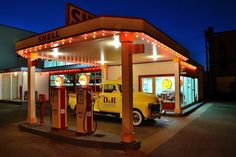 Vintage Gas Stations at Night | Share